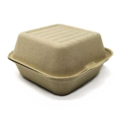BeGreen Fiber Clamshell Burger Container 6 in x 6 in x 3 in BG-6CS1