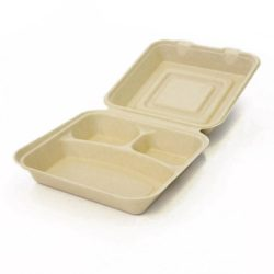 BeGreen Fiber Clamshell Hinged Container 3 Compartment 8 in x 8 in x 3 in BG-8CS3