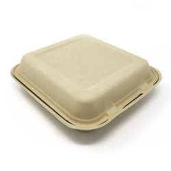 BeGreen Fiber Clamshell Hinged Container 8 in x 8 in x 3 in BG-8CS1