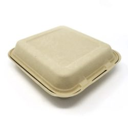 BeGreen Fiber Clamshell Hinged Container 9 in x 9 in x 3 in BG-9CS1