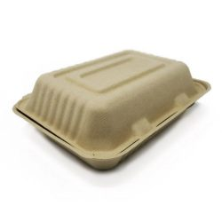 BeGreen Fiber Clamshell Hogie Container 9 in x 6 in x 3 in BG-9x6CS1
