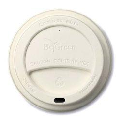 BeGreen Fiber White Flat Lids for Coffee Cups 12-16 oz BG-LID-090-W