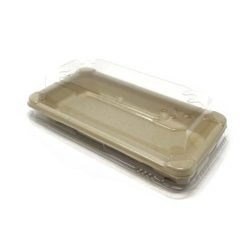 BeGreen PET Clear Dome Lid for Sushi Tray 6.5 in x 3.5 in BG-ST-1-L