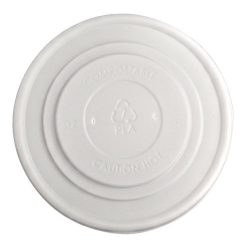 BetterEarth CPLA White Flat Lid for Food Container 12-32 oz BE-FL115CPLA