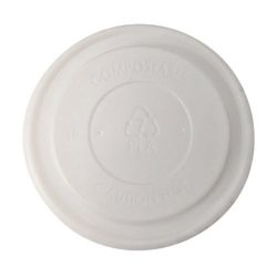BetterEarth CPLA White Flat Lid for Food Container 8 oz BE-FL90CPLA