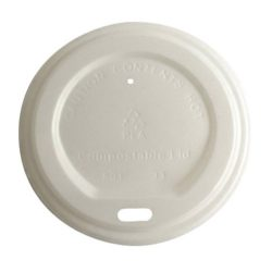 BetterEarth CPLA White Flat Lid for Hot Cup 8 oz BE-HL8PLA