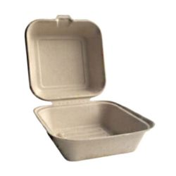 BetterEarth Fiber Bamboo Clamshell Hinged Container 6 in x 6 in BE-FC66EB