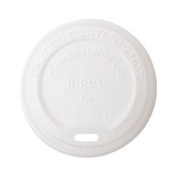 Conserveware Compostable CPLA Flat Lid for Hot Cup 10-20 oz 42HCLPLA90