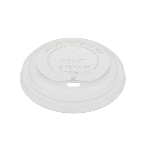 EarthChoice CPLA White Flat Lid for Hot Cup 12-20 oz LCPLA16