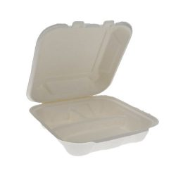 EarthChoice Fiber Blend Clamshell Hinged 3 Compartment Container 8 in x 8 in x 3 in YMCH08030001