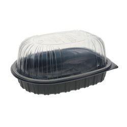 EarthChoice MFPP Black Lid Microwavable Roaster Container 32 oz 10 in x 7.5 in x 4 in YCNC6007DPPZ