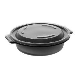 EarthChoice MFPP Black Round Lid Microwavable Container 16 oz 7 in 0CN8071600BL