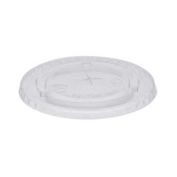 EarthChoice PLA Clear Flat Slot Lid for Cold Cup 9 oz YLPLA20C
