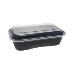 EarthChoice PP Black Rectangular Lid Microwavable Container 36 oz 8.4 in x 5.6 in NV2GRT3688B