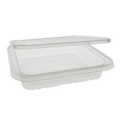 EarthChoice rPET Clear Clamshell Hinged Tamper Evident Deli Container 35 oz 8 in x 8 in TEHL8X835S