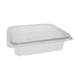 EarthChoice rPET Clear Clamshell Hinged Tamper Evident Deli Container 48 oz 8 in x 8 in TEHL8X848