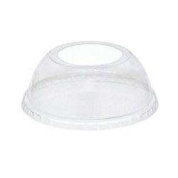 EarthChoice rPET Clear Dome Large Hole Lid for Cold Cup 12-16-20-24 oz YPDL24CLH