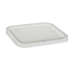 EarthChoice rPET Clear Flat Lid for Square Container 6 in 6SFLY
