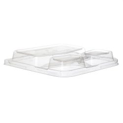 Eco Products PLA Clear Dome Lid for Square 3 Compartment Container 9 in EP-SCS93LID