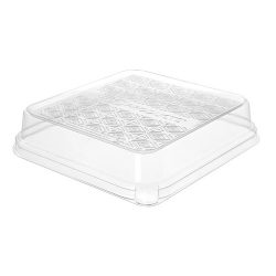 Eco Products PLA Clear Dome Lid for Taco Tray 7 in x 7 in x 1.5 in EP-SCS73LID