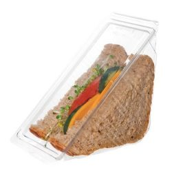 Eco Products PLA Clear Sandwich Wedge 4.25 in x 4.25 in x 6.5 in x 3 in EP-SWH3