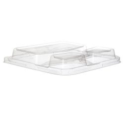 Eco Products rPET Clear Dome Lid for Square 3 Compartment Container 9 in EP-SCS93LIDR