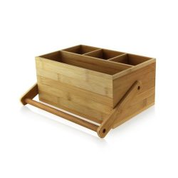 PacknWood Bamboo Cutlery Napkin Box Handle 9 in x 5.8 in x 4.2 in 210BTOOL1