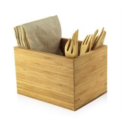 PacknWood Bamboo Cutlery Napkin Holder 6.3 in x 4.7 in x 4.1 in 210BMH2