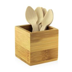 PacknWood Bamboo Mini Cutlery Holder 2.5 in x 2.5 in x 2.5 in 210BMH1