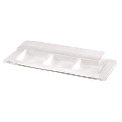 PacknWood Clear Dome Lid for 3 Compartment Plate 10.2 in x 4.3 in 210APULTAP