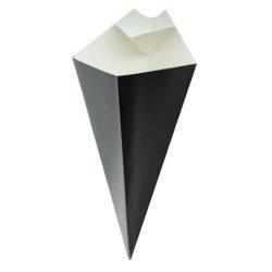 PacknWood Paper Black Sauce Compartment Cone 14 oz 210CONFR3BLK