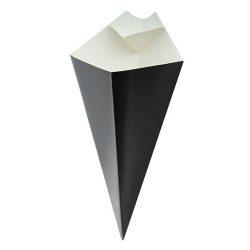PacknWood Paper Black Sauce Compartment Cone 8 oz 210CONFR2BLK