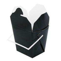 PacknWood Paper Black Take Out Box Handle 16 oz 3.75 in x 1.75 in x 3.5 in 210ASPAIL17N