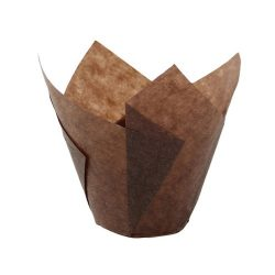 PacknWood Paper Dark Brown Silicone Tulip Baking Cup 1 oz 209CPST1CH