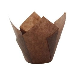 PacknWood Paper Dark Brown Silicone Tulip Baking Cup 3 oz 209CPST3CH