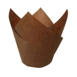 PacknWood Paper Dark Brown Silicone Tulip Baking Cup 5 oz 209CPST8CH