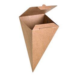 PacknWood Paper Kraft Closeable Snack Cone 3.5 in x 3.5 in x 7.5 in 210SCONEKR