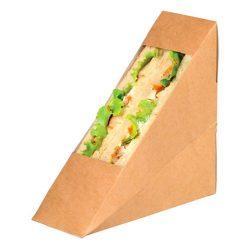 PacknWood Paper Kraft Double Wedge Sandwich Box 4.8 in x 2 in x 4.8 in 209KCK5212