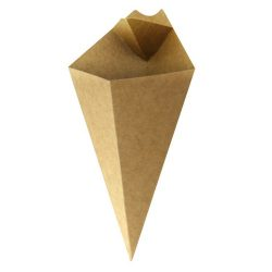 PacknWood Paper Kraft Sauce Compartment Cone 8 oz 210CONFR2KR