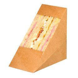 PacknWood Paper Kraft Triple Wedge Sandwich Box 4.8 in x 2.8 in x 4.8 in 209KCK7212