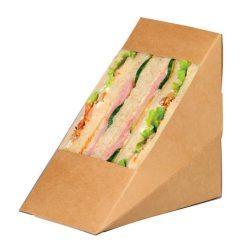 PacknWood Paper Kraft Triple Wedge Sandwich Box 4.8 in x 3.2 in x 4.8 in 209KCK8512