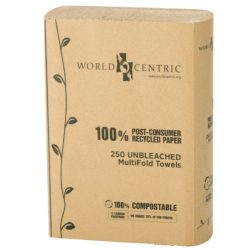 World Centric Eco Multi fold Towel 1 Ply 9 in x 9 in TW-PA-MF